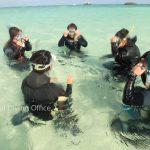 浜島で体験ダイビングの練習。 マスクの水を抜く方法は・・っと。