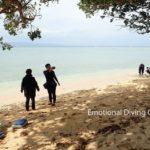 石垣島の無人の浜辺でお昼休憩