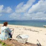 黒島のビーチでランチタイム。